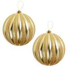 "9"" Gold Glitter Ribbed Ornaments, Set of 2"