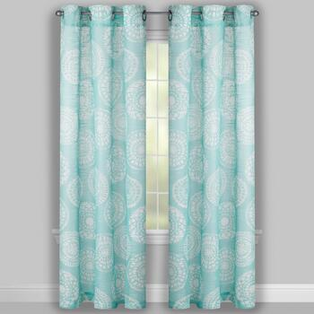 Seafoam Medallion Slub Window Curtains, Set of 2 view 2