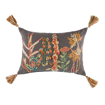 Dark Gray Garden Flowers Oblong Throw Pillow view 1