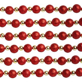 12' Red/Gold Glittered Bead Garlands, Set of 2