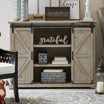 The Grainhouse Wood Metal Sliding Barn Door Cabinet Christmas