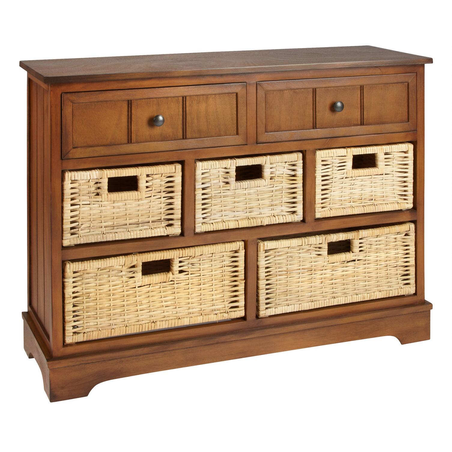 Chelsea Honey 5 Basket/2 Drawer Cabinet