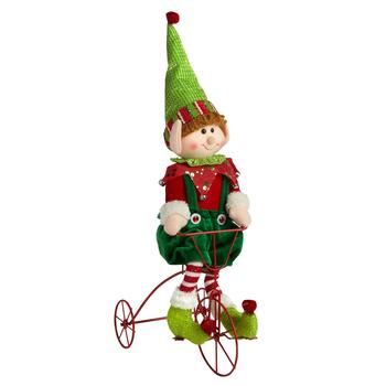 "21"" Green Pants Tricycle Elf Boy Decor"