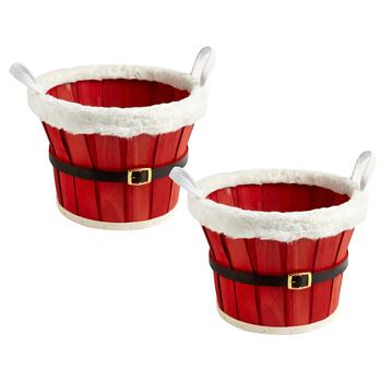 Small Santa's Belly Baskets, Set of 2