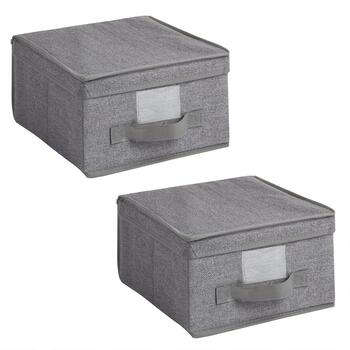 Gray Small Fabric Storage Boxes, Set of 2