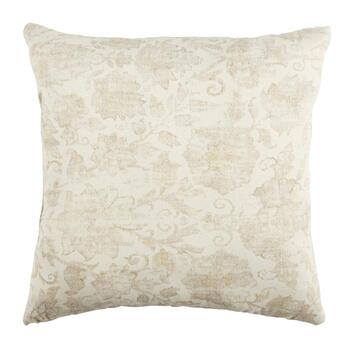 Beige Floral Leaf Square Throw Pillow
