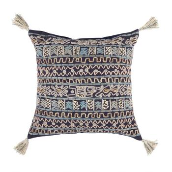 Blue Square Tribal Embroidered Throw Pillow