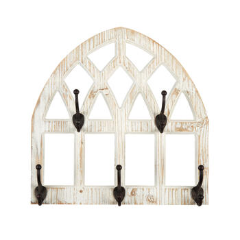 "The Grainhouse™ 18"" Distressed Wood Wall Arch with Hooks view 1"