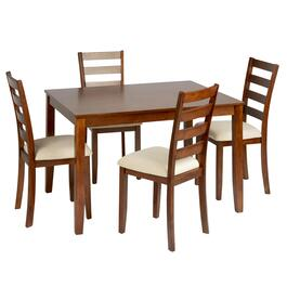 Light Oak Upholstered Dining Table & Chairs Set, 5-Piece