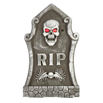 """RIP"" LED Skull Eyes Tombstone"