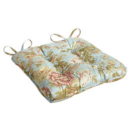 Waverly® Blue/Green Floral Quilted Indoor/Outdoor Seat Pad view 1