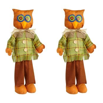 "24"" Standing Owl Scarecrows Decor, Set of 2"