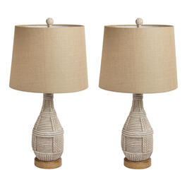 "26"" White Woven Table Lamps, Set of 2 view 1"
