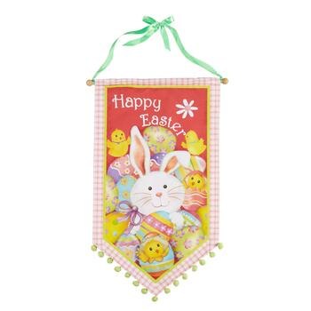 """Happy Easter"" Bunny and Chicks Canvas Banner"