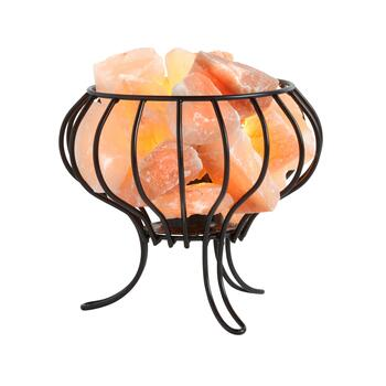 "8"" Hand-Carved Salt Rock Basket Lamp"