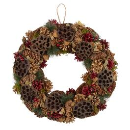 "19"" Red/Brown Pinecones Wreath"