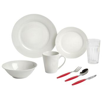 Gibson Regal White/Red Combo Dinnerware Set, 32-Piece