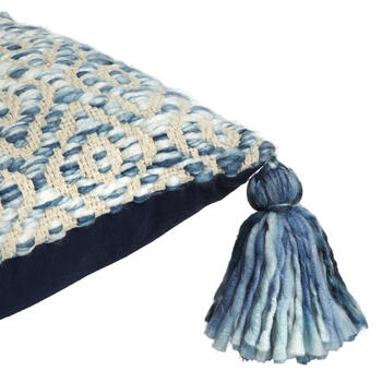 The Grainhouse™ Blue Diamond Tassel Square Throw Pillow view 3