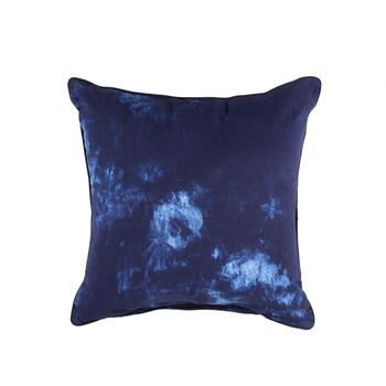 Dark Blue Tie-Dye Square Cotton Throw Pillow
