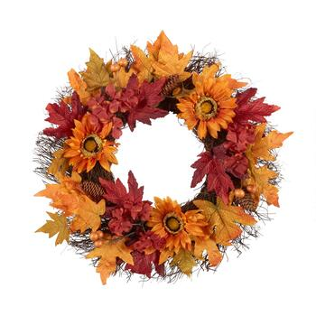 "22"" Orange/Red Leaves Artificial Twig Wreath"