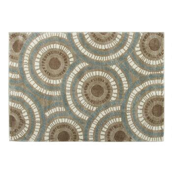 5'x7' Brown/Teal Strato Circles Area Rug