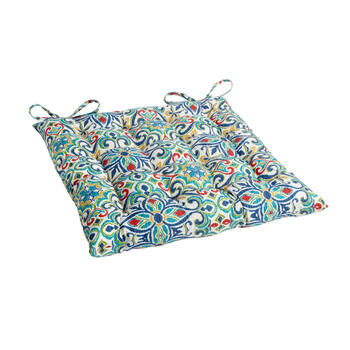 Multicolor Damask Indoor/Outdoor Tufted Square Seat Pad view 1