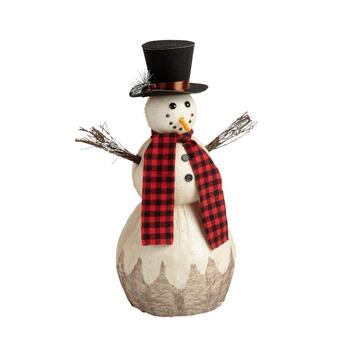 "23"" Red/Green Plaid Scarf and Hat Snowman Decor"