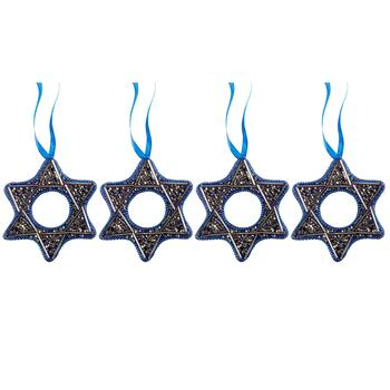 Star of David Beaded Hanging Ornaments, Set of 4