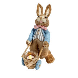 "13.5"" Bowtie Bunny with Wheelbarrow Flameless Candle Holder view 1"
