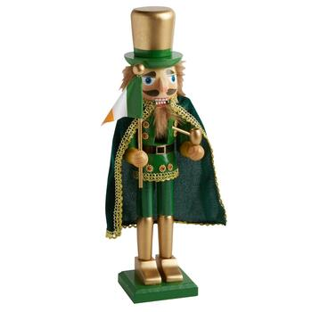 "15"" Leprechaun Nutcracker with Irish Flag and Pipe"
