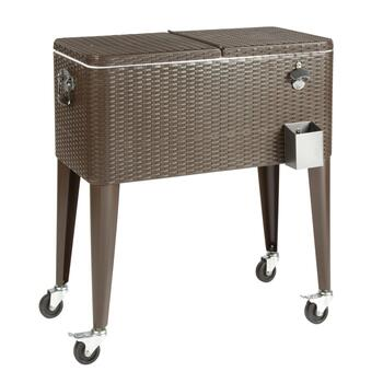80-Quart Resin Wicker Silver Wheeled Cooler view 2