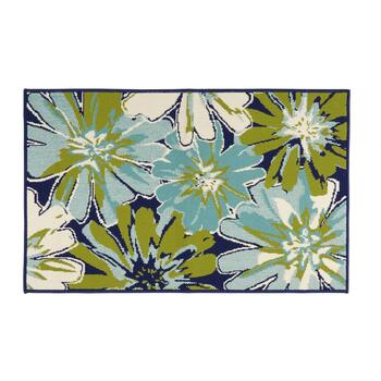 Dark Blue/Green Large Flowers All-Weather Area Rug