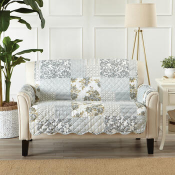 Reversible Gray Floral Print Quilted Loveseat Furniture Protector