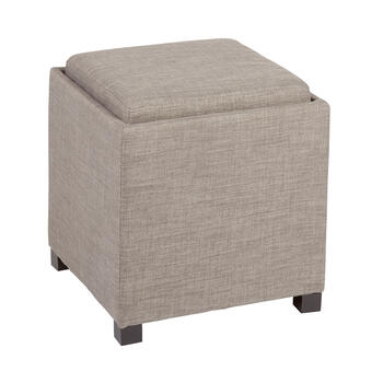 Fabric Tray Top Cube Storage Ottoman view 1