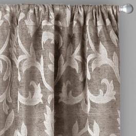 Damask Chenille Jacquard Window Curtains, Set of 2