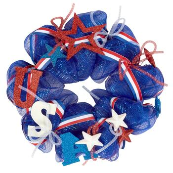 "22"" Glittered ""Land of the Free"" Ribbon Wreath"