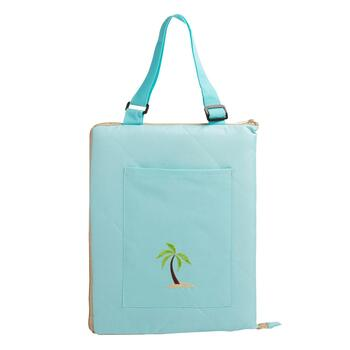 Aqua/Tan Palm Tree Foldable Outdoor Blanket Tote view 2