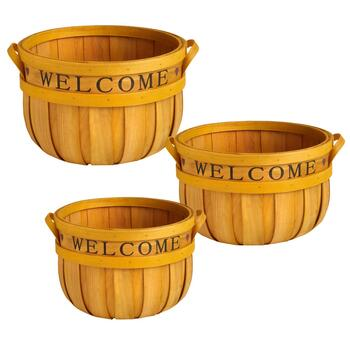 Bushel Basket with Welcome Stencil