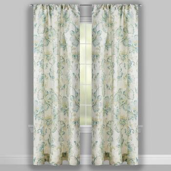 "63"" Green Floral Bianca Window Curtains, Set of 2 view 2"