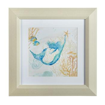 "12"" Watercolor Mermaid Framed Wall Art"