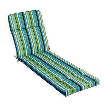 Blue/Yellow/Green Striped Indoor/Outdoor Hinged Chaise Chair Pad
