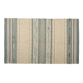 "27""x45"" Beige/White Diamond Stripes Handwoven Dhurrie Accent Rug view 1"
