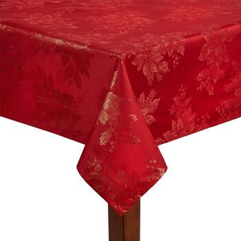 Red Lurex Metallic Poinsettia Damask Tablecloth