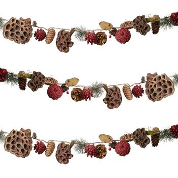 6' Red/Brown Pinecones Garland