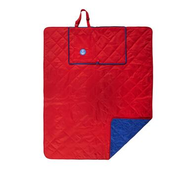 "50""x60"" Red/Blue Anchor Beach Blanket and Tote view 2"