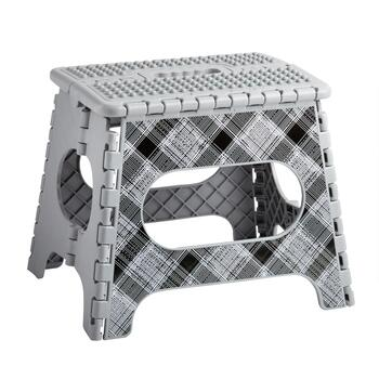 Gray Plaid Folding Step Stool