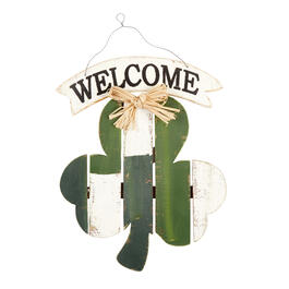 "19"" ""Welcome"" Wood Shamrock Wall Decor view 1"