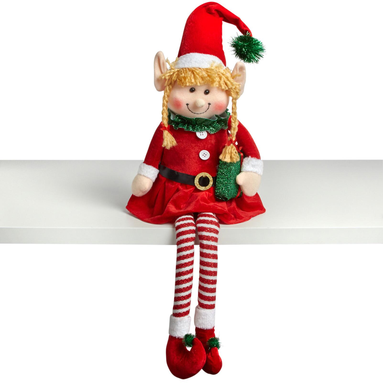 Christmas Elf.15 Dangling Legs Sitting Santa Elf Girl