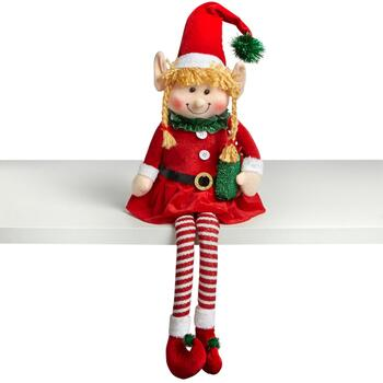 "15"" Dangling Legs Sitting Santa Elf Girl"
