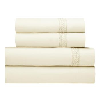 Ivory Sheet Set with Matching Crochet Trim